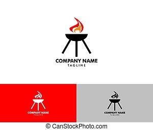 Grill barbecue logo design vector template