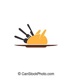 Grilled chicken with fork knife and spoon template
