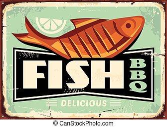 Grilled fish and lemon slice vintage vector sign