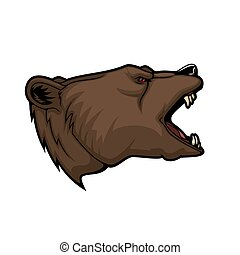 Grizzly bear animal head mascot, hunting and sport