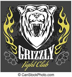 Grizzly bear head - emblem.