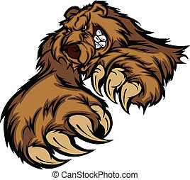 Bear Mascot Snarling Reaching with Claws and Paws Vector Image