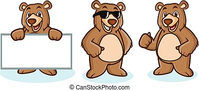 Grizzly Bear Mascot happy