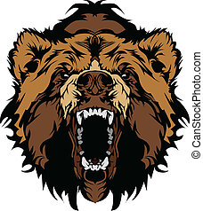 Graphic Mascot Vector Image of a Black Bear Head