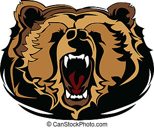 Mascot Vector Image of a Growling Bear Head Graphic