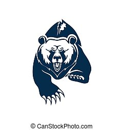Grizzly black or brown bear isolated animal mascot