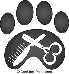 Animal cutting symbol with a tool