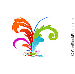 Illustration group colorful artistic feathers with ink - vector