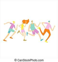 Group male female runner club sport jogging