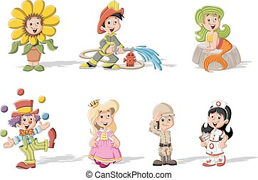 Group of cartoon kids