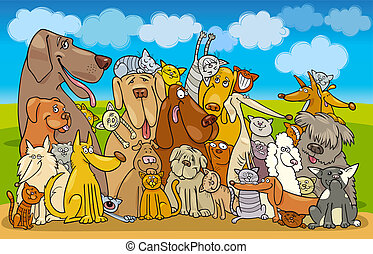 Illustration of group of Cats and Dogs against blue sky