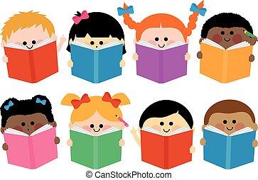 Group of children reading books. Vector Illustration