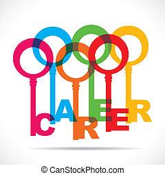 Group of colorful keys make career word stock vector