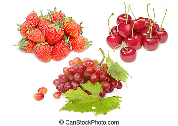 group of fresh red fruit for healthy nutrition