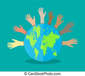 hands of different colors and globe