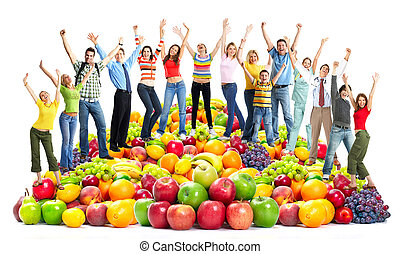 Group of happy people with fruits. Isolated on white background.
