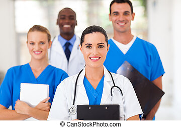 group of healthcare professionals in hospital