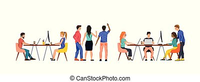 Group Of People In An Office Working As A Team