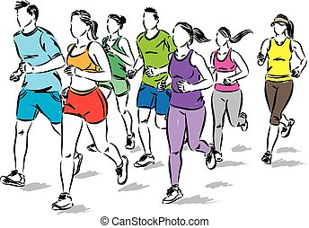 group of people jogging running vector illustration