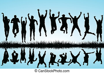 Group of young people jumping