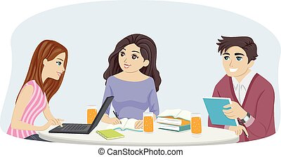 Illustration of a Group of Teens Studying Together