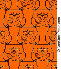 Grumpy cat pattern seamless. Angry pet background. Vector illustration