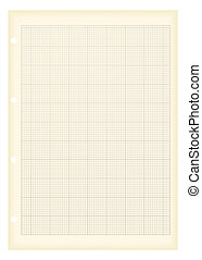 Sheet of a4 graph paper with aged grunge illustration effect