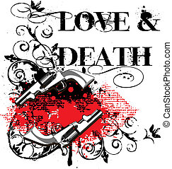 """Grunge angular vignette with two guns and and by inscription """" Love & Death"""""""