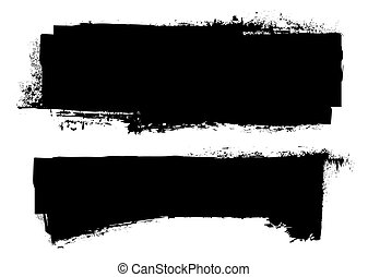 black grunge ink banner with paint roller effect