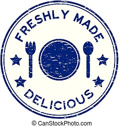 Grunge blue freshly made delicious with plate, spoon, fork icon round rubber stamp