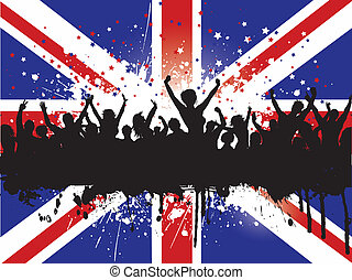 Silhouette of an excited crowd on a Grunge Union Jack Flag background