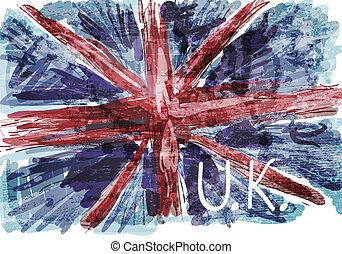 Grunge flag of British