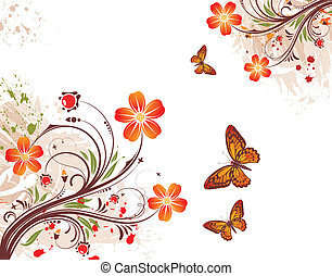 Grunge flower background with butterfly, element for design, vector illustration