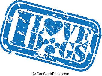 Grunge I love dogs rubber stamp, ve