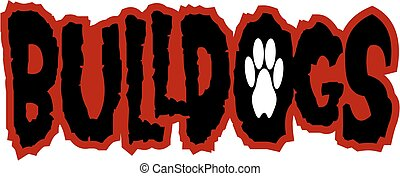 grunge looking bulldogs team design with paw print