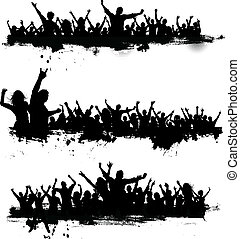 Collection of three different party crowds on grunge