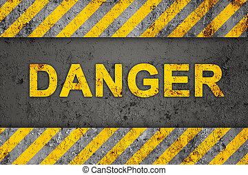 Grunge Black and Orange Pattern with Warning Text (Danger), Old Metal Textured
