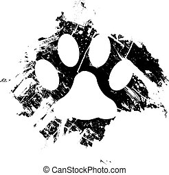 Grunge pet or cat paw print. Can be used as a background or as a minor design element.