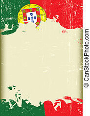 A poster with a large scratched frame and a grunge portugal flag for your publicity