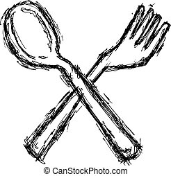 grunge spoon and fork