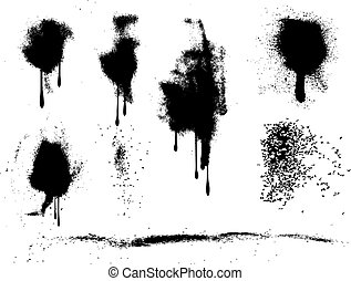Various spray paint splats and drips