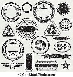 Grunge Rubber stamp design elements, vector objects separated and grouped