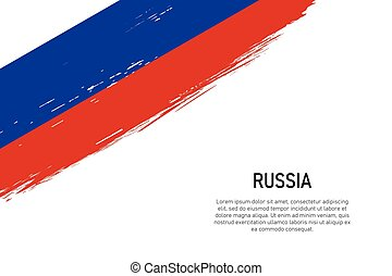 Grunge styled brush stroke background with flag of Russia,