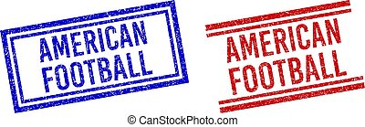 Grunge Textured AMERICAN FOOTBALL Stamps with Double Lines