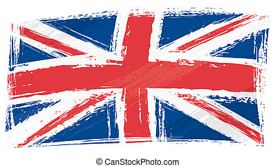 United Kingdom national flag created in grunge style