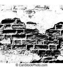 grunge wall, halftone effect, vector without gradient