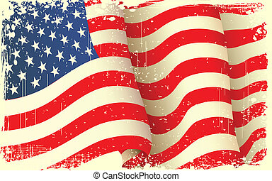 illustration of waving American Flag with grungy border