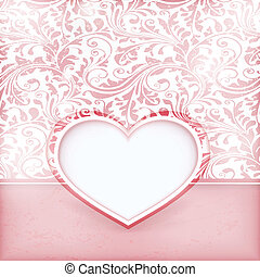 Grungy floral invitation card with love heart label