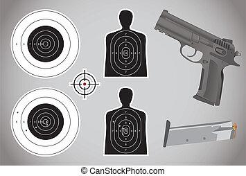 gun, ammo and targets - illustration