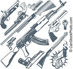 Clip art collection of various firearms